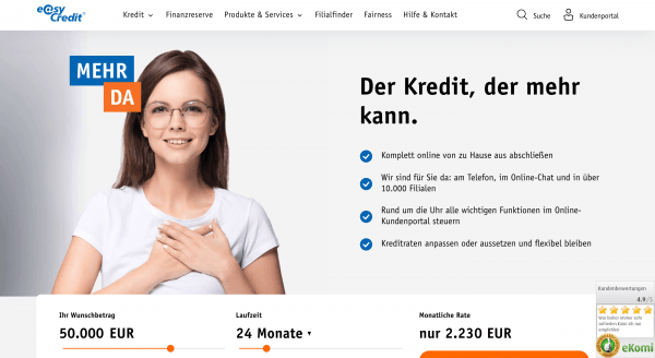 easyCredit - Kredit bis 75 000 €